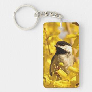 Chickadee Bird in Yellow Flowers Acrylic Keychain
