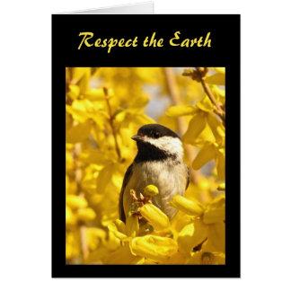 Chickadee Bird in Yellow Flowers Earth Day Card
