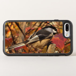 Chickadee Bird with Pink and Red Autumn Leaves OtterBox Symmetry iPhone 8 Plus/7 Plus Case