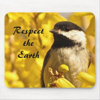 Chickadee Bird Yellow Flowers Earth Day Mousepad