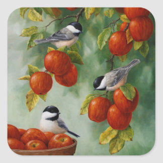 Chickadee Birds Apple Harvest Square Sticker