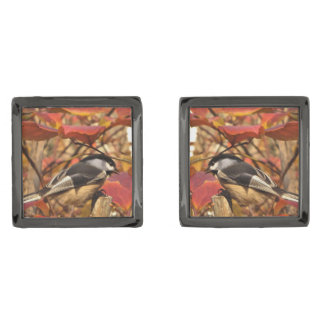 Chickadee Birds in Pink and Red Autumn Leaves Gunmetal Finish Cuff Links