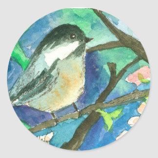 Chickadee Birds Tree Branches Watercolor Painting Round Sticker