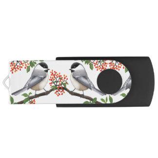 Chickadee Birds with Berries USB Flash Drive Swivel USB 3.0 Flash Drive