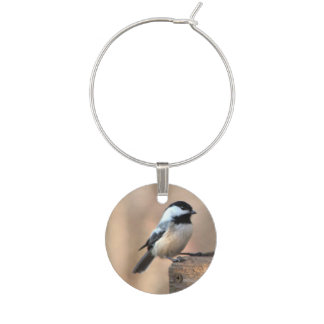 Chickadee in a Golden Light Wine Charm