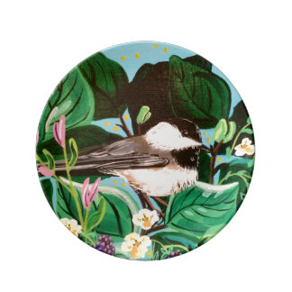 Chickadee in Berry Patch Porcelain Plates