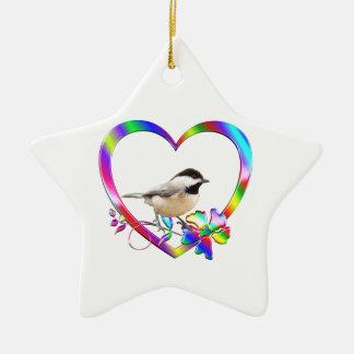 Chickadee in Colorful Heart Ceramic Ornament