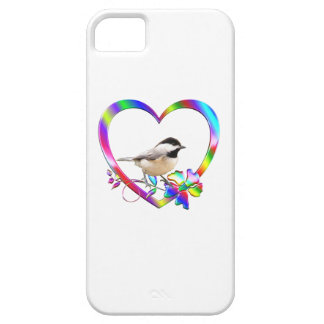 Chickadee in Colorful Heart iPhone 5 Cover