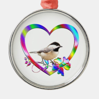 Chickadee in Colorful Heart Metal Ornament