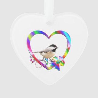 Chickadee in Colorful Heart Ornament
