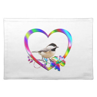 Chickadee in Colorful Heart Placemat