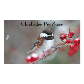 Chickadee in Falling Snow with Red Berries Business Cards