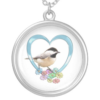 Chickadee in Heart Silver Plated Necklace
