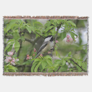 Chickadee in spring throw blanket