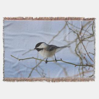 Chickadee in winter throw blanket