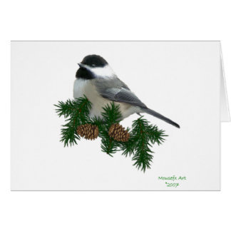 Chickadee Large Print Christmas Card