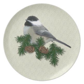 Chickadee Melamine Plate