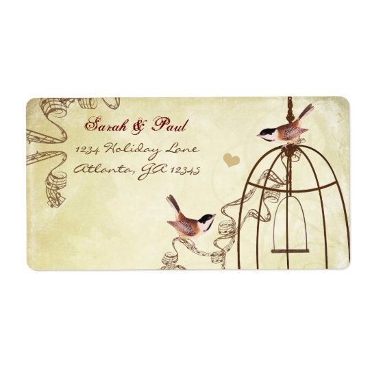 Chickadee Musical Bird Cage Swirl Return Address Shipping Label