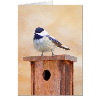 Chickadee on Birdhouse Card