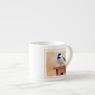 Chickadee on Birdhouse Espresso Cup