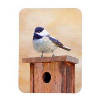 Chickadee on Birdhouse Magnet