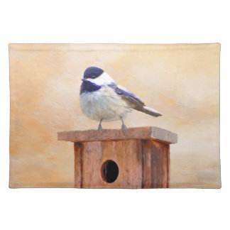 Chickadee on Birdhouse Placemat
