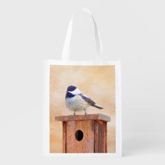 Chickadee on Birdhouse Reusable Grocery Bag