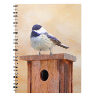 Chickadee on Birdhouse Spiral Notebook