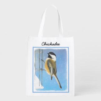 Chickadee on Feeder Reusable Grocery Bag