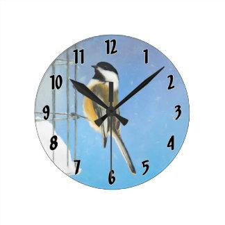 Chickadee on Feeder Round Clock