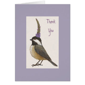 chickadee on lavender Thank you notecard