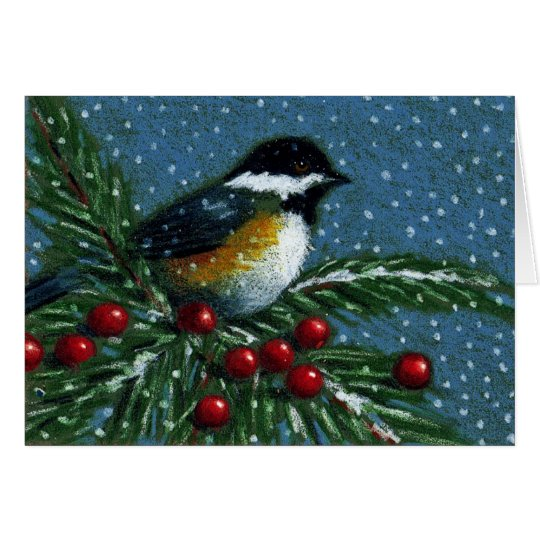 CHICKADEE ON SNOWY PINE BRANCH CARD