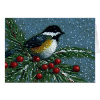 CHICKADEE ON SNOWY PINE BRANCH CARD