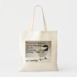 Chickadee photo with quote tote bag