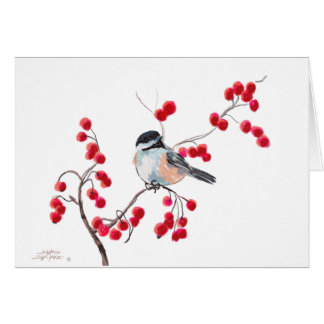 CHICKADEE & RED BERRIES by SHARON SHARPE Greeting Cards