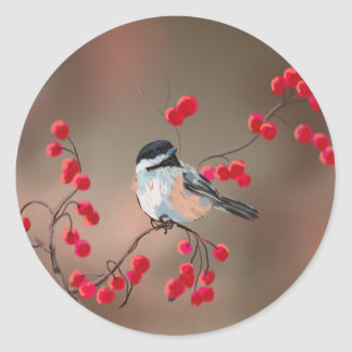 CHICKADEE & RED BERRIES by SHARON SHARPE Classic Round Sticker