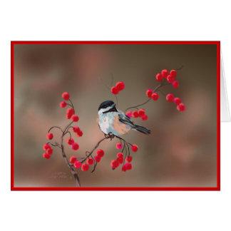 CHICKADEE & RED BERRIES by SHARON SHARPE Greeting Card
