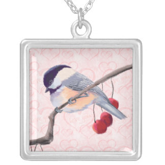 CHICKADEE & RED BERRIES by SHARON SHARPE Silver Plated Necklace
