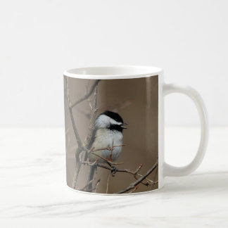 Chickadee singing coffee mug