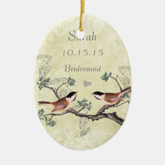 Chickadee Vintage Bird Maid of Honor Ornaments