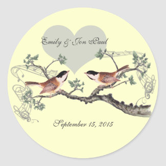 Chickadee Vintage Love Birds Wedding Stickers