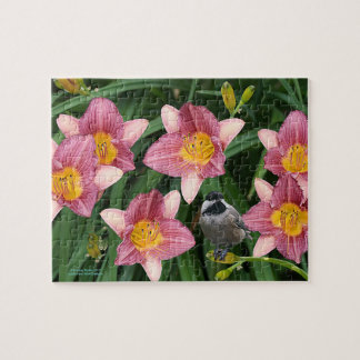 Chickadee with Flowers - Jigsaw Puzzle