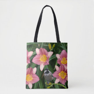 Chickadee with Pink and Gold Flowers - Tote Bag