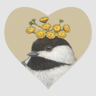 chickadee with tansy heart stickers