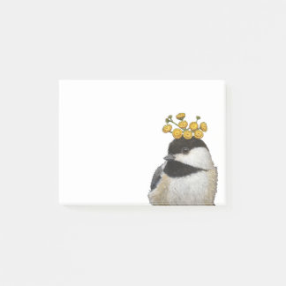 chickadee with tansy post-it notes