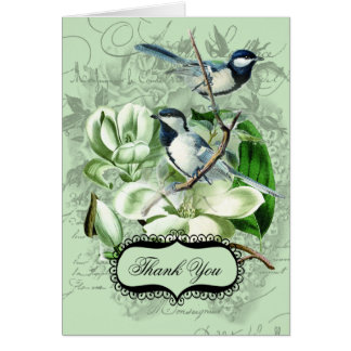 Chickadees and  Magnolias Thank You Note Cards