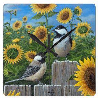Chickadees and Sunflowers Wall Clock