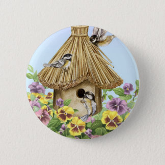 Chickadees Birdhouse 6 Cm Round Badge