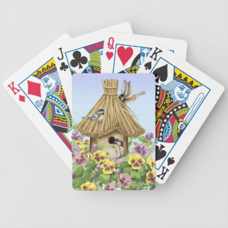Chickadees Birdhouse Bicycle Playing Cards