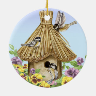 Chickadees Birdhouse Ceramic Ornament